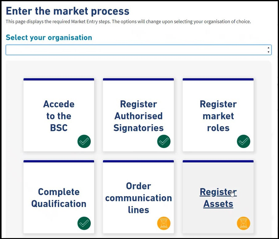 Elexon Kinnect 'mark entry' dashboard. The dashboard features the following tasks: Acede to the BSC, Register Authorised Signatories, Register Market roles, Complete Qualification (completed). Order communication lines, register assets (pending)