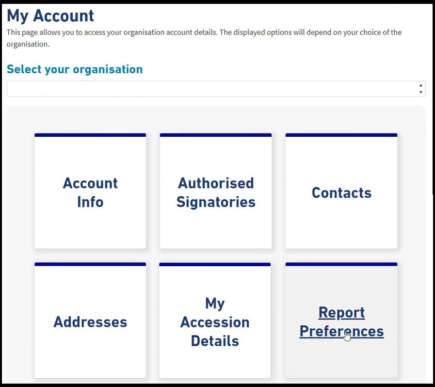 Elexon Kinnect 'My account' dashboard. The dashboard features the followiing options: Select your organisation, authorised signatories, contacts, addresses, my ascension details and report preferences